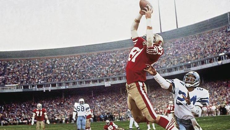 Dwight Clark makes the Game Winning Touchdown catch to Defeat the Cowboys in the 1982 Superbowl.